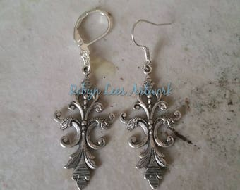 Silver Victorian Style Floral Filigree Earrings on Silver Earring Hooks or Leverbacks. Costume, Gothic, Dainty, Different