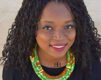 Green fabric necklace, African fabric necklace, african necklace, ankara necklace, bijoux wax, bijoux africains, collier en tissu wax