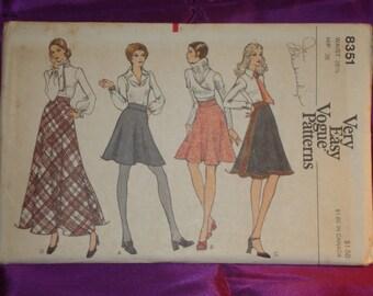 1970s 70s Vintage Bias Flared Skirt Mini Above Knee Mid Knee n Evening Lengths UNCUT Vogue Pattern 8351 Wst 26.5 US 67 Metric EASY