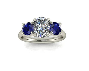 Sapphire and Moissanite Engagement Ring, Oval Forever One Moissanite, Round Cut Chatham Blue Sapphire