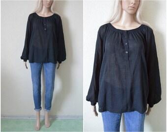 Black boho blouse cotton blend Peasant top Summer gypsy hippie bohemian Womens Long sleeved Semi sheer S Small UK 8 10