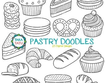 Pastry Doodles Digital Stamp - Pastry Doodles Clipart / Pastry Clipart / Baking Clipart / Hand Drawn Pastry / Baking Goods / Donuts / Bread