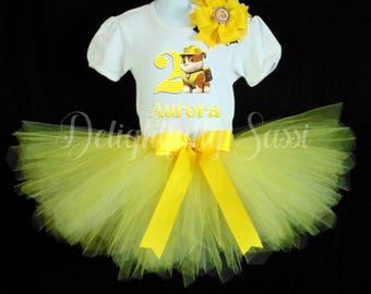 Paw Patrol Tutu Set, Paw Patrol Birthday, Rubble Birthday Tutu Set, Tutu Set, Tutu Outfit, Yellow Tutu, Birthday Outfit, Personalized Tutu