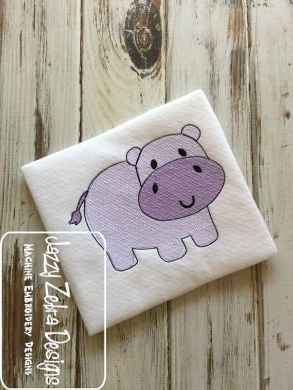 Hippo sketch embroidery design - safari sketch embroidery design - zoo sketch embroidery design - sketch embroidery design - hippo