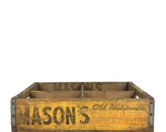 Vintage Masons Root Beer Wood Crate 1940s Yellow Masons Root Beer Nesbitts Soda Crate Benton Harbor Michigan Yellow Masons Nesbitts Crate
