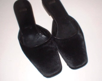 Coach Black Pony Hair Mules Slides Flats Slip Ons Shoes Size 8 B ExC