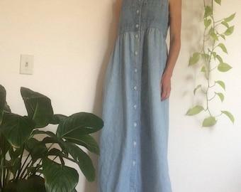 Vintage 80s/90s denim maxi dress / Size 6