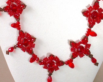 Rich Red Necklace set embellished with bronze seed beads