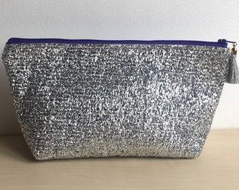 large make up bag christmas present toiletries bag silver sparkly gift