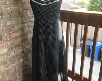 Black & White Polka Dot Maxi Dress with Ruffle Flounce