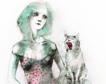 Original Watercolor painting Woman with a Cat. Watercolor mixed media painting. Cat watercolour illustration. Cat watercolor wall art.
