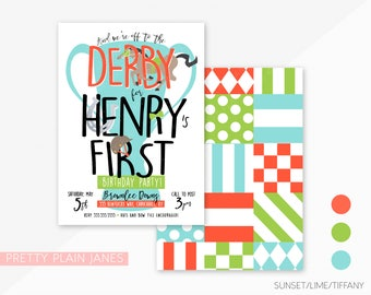 Kentucky Derby Birthday Invitation | Derby Birthday Party | Printable Horse Racing Birthday Invitation | Boy Derby Party 1st Birthday - 5X7