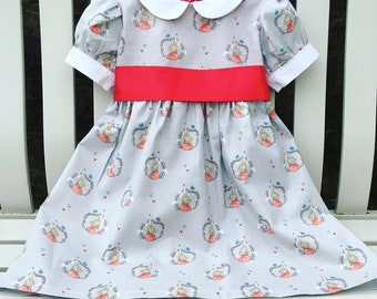 MADE TO FIT Peter Rabbit grey red white tea party dress puffed sleeves peter pan collar 100% cotton fabric ages 2 years to 6 years