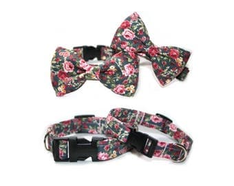 Floral Vintage, Shabby Chic Pink Rose Bow Tie Puppy, Small, Medium, Dog Collar - Dog Lover.