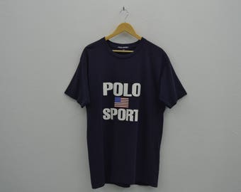 Polo Sport Shirt Vintage Polo Sport Ralph Lauren T Polo Sport USA Flag Relaxed T Mens Size L