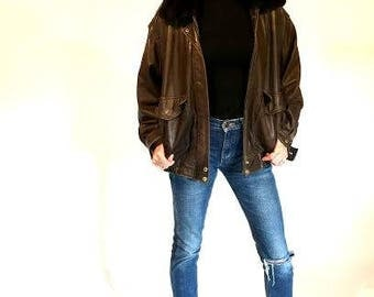 Leather Aviator Bomber Jacket
