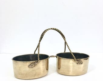 Brass Double Bowl Serving Dish, Twisted Rope Handle Candy Dish, Brass Home Decor, Brass Tray, Hollywood Regency, Brass Planter, Bohemian
