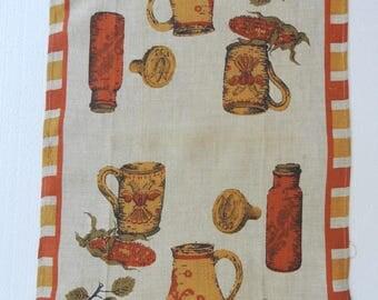 Vintage Linen Tea Towel Dish Towel Kitchen Towel  50s Kitchen Items Natural Irish Linen  Vintage Exc Used Condition Fallani & Cohn