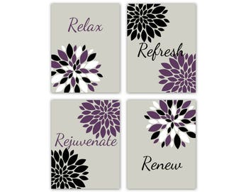 Bathroom Wall Decor, Relax Refresh Renew Rejuvenate, Grey Black Purple White  Bathroom Decor,