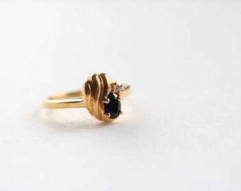 Gold Black Ring - Size 7.25 Ring For Women