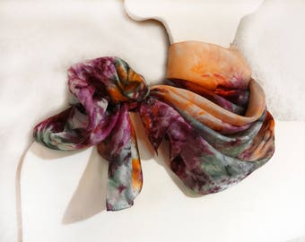 Hand painted long silk scarf Colorful purple orange emerald summer womens scarf Abstract watercolor painting Bright handpainted scarf