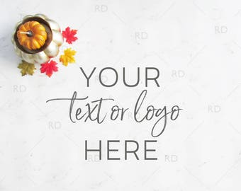 Fall Themed Desk Mockup / Styled Stock Photography / Mockup / Styled Photo for Blog Website / Desk Mockup Pumpkin and Leaves / Marble Desk