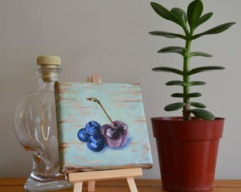 Blueberries and Cherry Original Acrylic Painting on Canvas