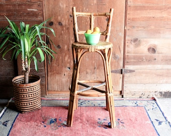 Vintage Rattan Bar Stool with Back, Kitchen Bar Stools Rustic, Rattan Furniture, Boho Stool, Bamboo Chair, Wicker Stool, Jungalow Chair