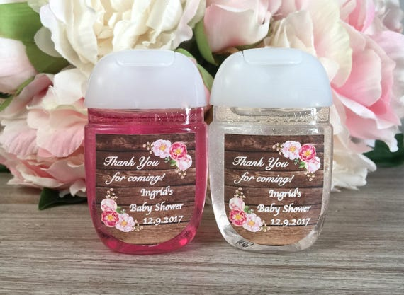 Rustic baby shower favor labels floral bridal shower for Hand sanitizer bridal shower favors