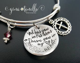 Memorial Bracelet, God Has You in His Arms I Have You in my Heart, In Memory Of, Remembrance Jewelry, Loss of Mother Father Child Husband, H