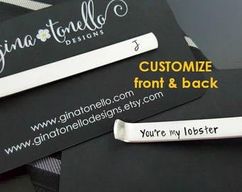 Anniversary Gift Men, Boyfriend Gift, Personalized Tie Bar, Non Engraved Tie Clip Hand Stamped, Tie Clip Personalize, Custom Father Day Gift