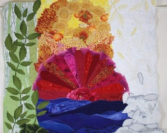 Fiber Art Wall Hanging - Interpretation of 5 Element Theory of Chinese Medicine - modern art quilt - botanical theme