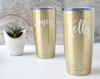Swig Wine Tumbler Coffee Tumbler Bridesmaid Gift Gold Coffee Tumbler- Bachelorette Gift - Coffee Cup Custom Personalized Monogrammed Tumbler