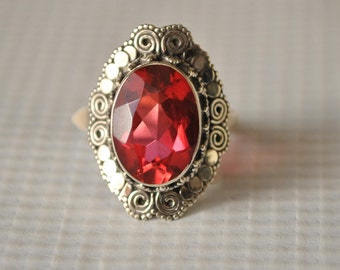 Sterling Silver Rubellite Tourmaline Ring Sz 7.25 #9826