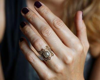 Rose Cut Diamond Ring, Rose Cut Engagement Ring, Gold Lace Ring, Rose Cut diamond Engagement Ring, Statement Engagement Ring, 14k Solid Gold