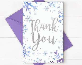 Winter onederland thank you card, winter onederland party, winter birthday, winter thank you note, printable thank you, INSTANT DOWNLOAD