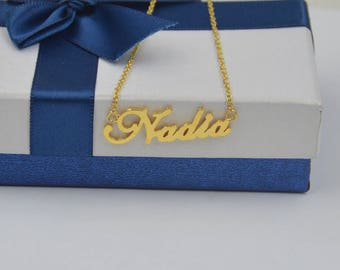 Handcrafted name necklace-Personalized name jewelry gold gift for women-custom any name with chain
