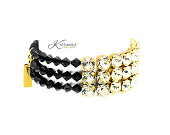 REBEL 8mm Crystal Statement Stretch Bracelet Made With Swarovski Crystal *Pick Your Finish *Karnas Design Studio™ *Free Shipping