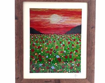 Poppy Field Art Deco Art Print Floral Art Abstract Art Nature Art Landscape Art Mounted Signed