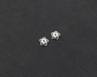 2Pcs 10.5mm Sterling Silver Beads Caps -- 925 Silver Charms Wholesale For Bridesmaid Gift Party YX-Y629-S10