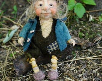 Arnold , needle & wet felted ooak doll