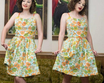 1960s Floral Dress | 60s Flower Dress | 60s Dress | 1960s Dress | Floral Cotton Dress | Fit & Flare | 60s Full Skirt | 60s Day Dress | 30""