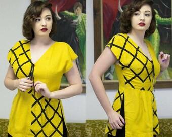 30s Yellow Tunic | Golden Yellow | 30s Tunic | 1930s Blouse | 1930s Tunic | Yellow Blouse | Black & Yellow Blouse | Tunic Blouse | Deco | 26