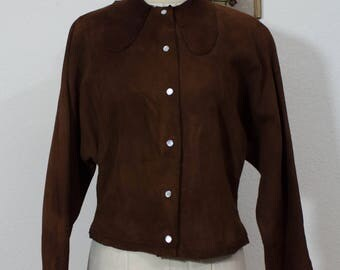 50s Suede Sweater | 50s Nunuck Sweater | 1950s Sweater | 50s Western | Western Wear | 50s Cowgirl | 50s Brown Sweater | Fringe Sweater