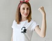 T-shirt femme «Wonder woman», t-shirt femme court, chemise blanche, cadeau maman, cadeau fille