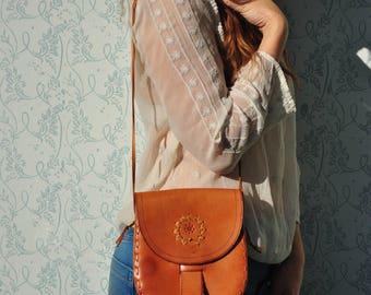 Leather bag, leather purse, tooled leather purse, vintage bag women, leather bag women, leather shoulder bag, boho leather bag