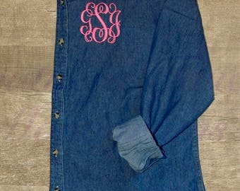 Monogrammed Denim Shirt