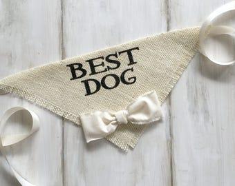 Custom Color Bowtie Wedding Dog Bandana Best Dog Ivory Burlap Bow Tie Engagement Save the Date