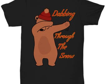 Funny Dabbing Christmas Tee Shirt - Dabbing Tshirt - Bear T-shirt - Funny Dabbing Shirt - Free Domestic Shipping Until 1/06/18