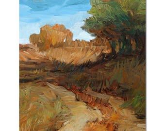 Autumn small landscape painting, plein air art, original painting, autumn trees.